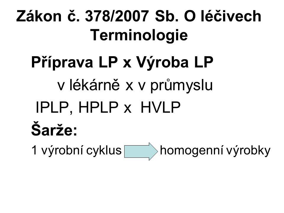 Zákon č. 378/2007 Sb. O léčivech Terminologie Příprava LP x Výroba LP v lékárně x v průmyslu IPLP, HPLP x HVLP Šarže: 1 výrobní cyklus homogenní výrob