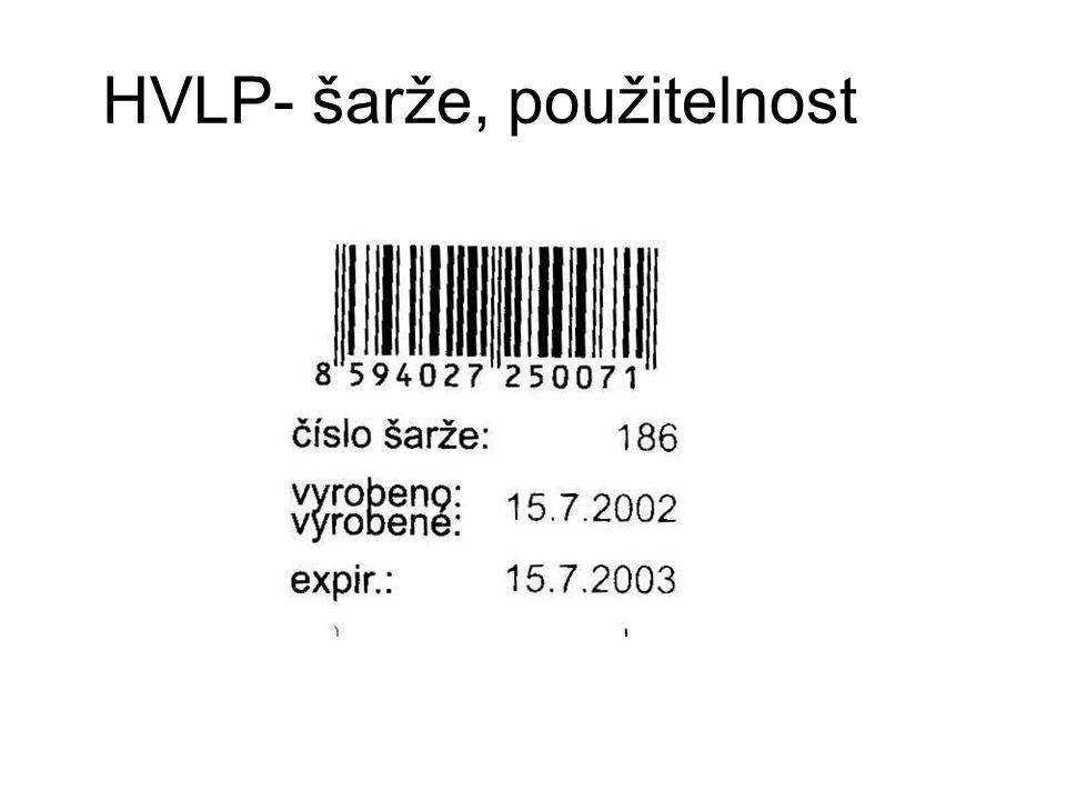 HVLP- šarže, použitelnost