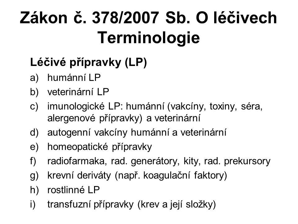 Zákon č. 378/2007 Sb. O léčivech Terminologie Léčivé přípravky (LP) a)humánní LP b)veterinární LP c)imunologické LP: humánní (vakcíny, toxiny, séra, a