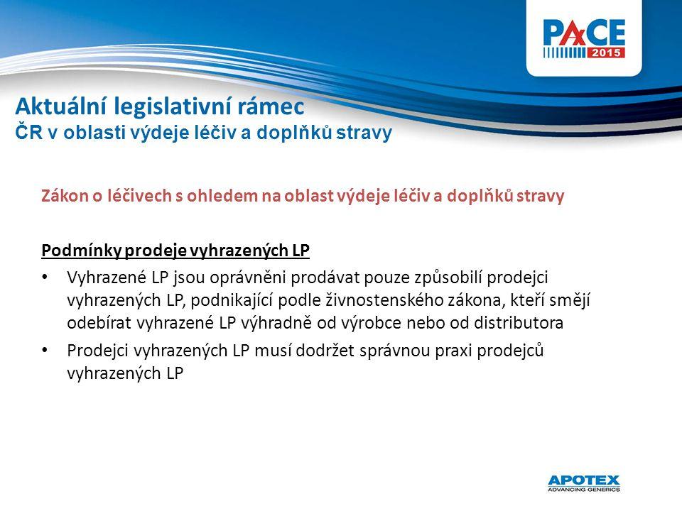 Zákon o léčivech s ohledem na oblast výdeje léčiv a doplňků stravy Podmínky prodeje vyhrazených LP Vyhrazené LP jsou oprávněni prodávat pouze způsobil