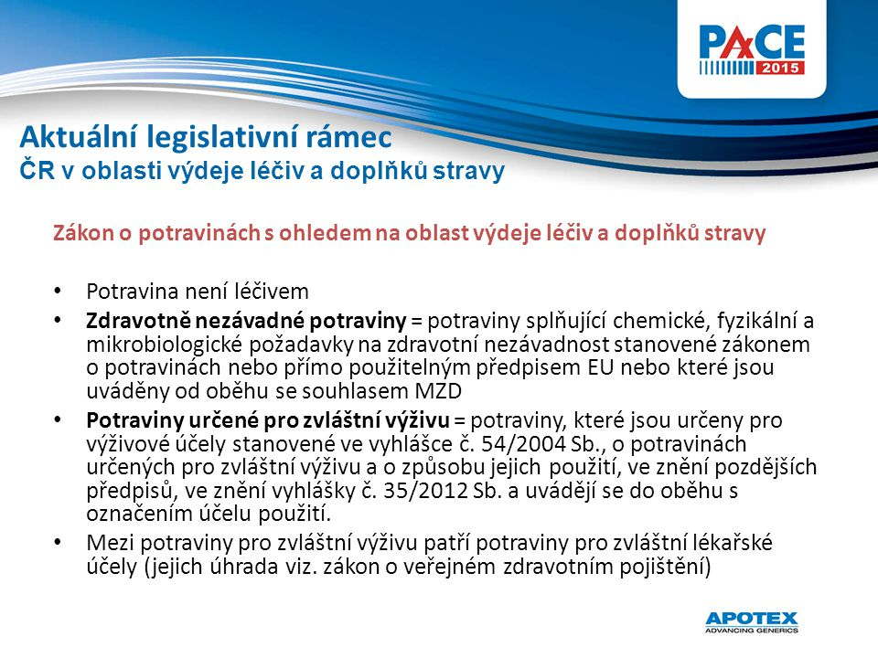 Zákon o potravinách s ohledem na oblast výdeje léčiv a doplňků stravy Potravina není léčivem Zdravotně nezávadné potraviny = potraviny splňující chemi