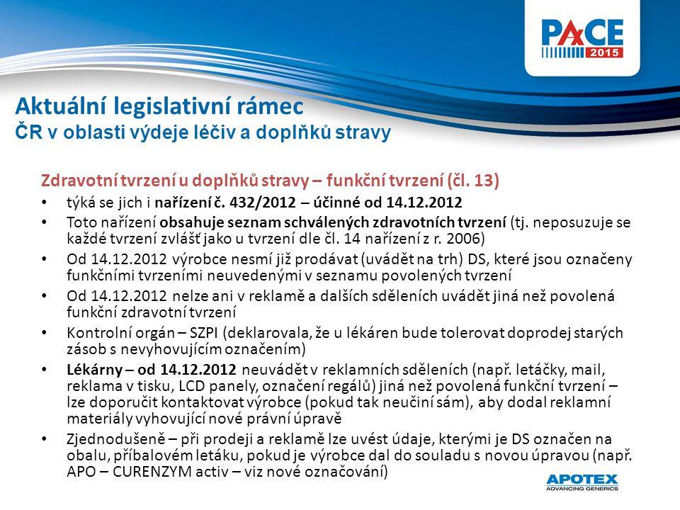 Zdravotní tvrzení u doplňků stravy – funkční tvrzení (čl. 13) týká se jich i nařízení č. 432/2012 – účinné od 14.12.2012 Toto nařízení obsahuje seznam