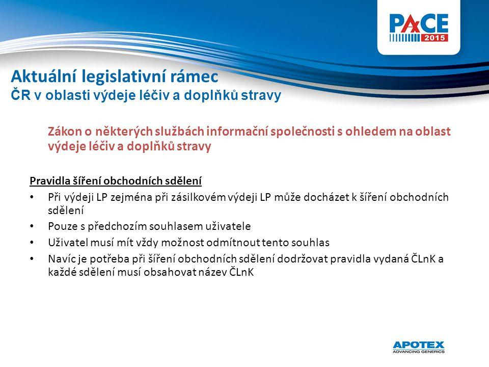 Zákon o některých službách informační společnosti s ohledem na oblast výdeje léčiv a doplňků stravy Pravidla šíření obchodních sdělení Při výdeji LP z