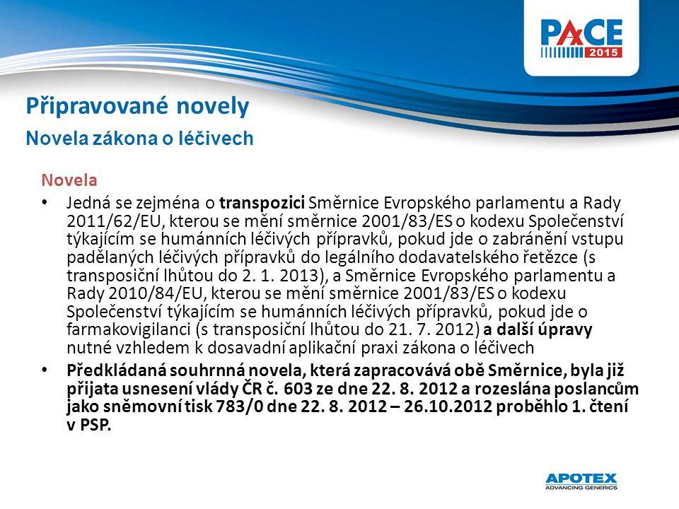 Novela Jedná se zejména o transpozici Směrnice Evropského parlamentu a Rady 2011/62/EU, kterou se mění směrnice 2001/83/ES o kodexu Společenství týkaj
