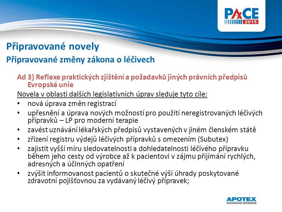 Ad 3) Reflexe praktických zjištění a požadavků jiných právních předpisů Evropské unie Novela v oblasti dalších legislativních úprav sleduje tyto cíle: