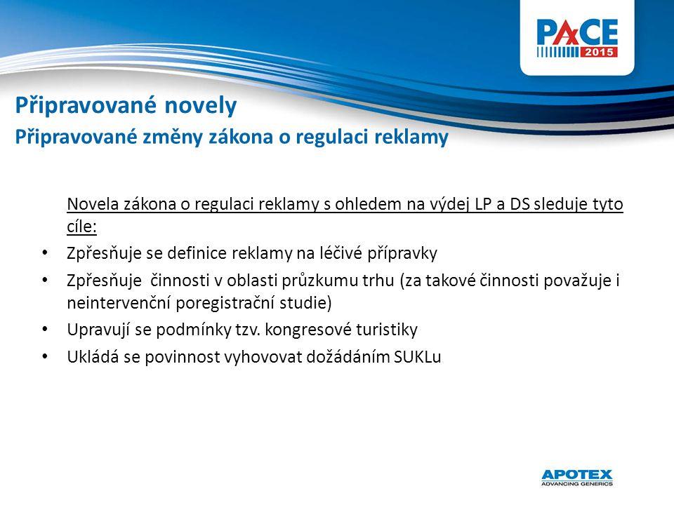 Novela zákona o regulaci reklamy s ohledem na výdej LP a DS sleduje tyto cíle: Zpřesňuje se definice reklamy na léčivé přípravky Zpřesňuje činnosti v