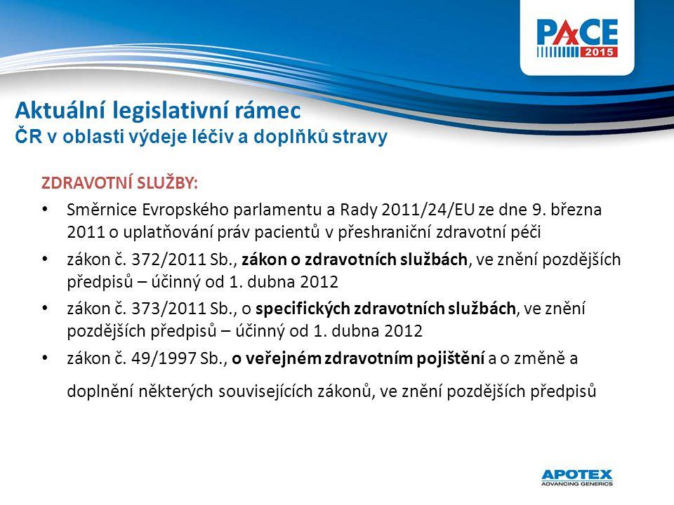 Aktuální legislativní rámec ZDRAVOTNÍ SLUŽBY: Směrnice Evropského parlamentu a Rady 2011/24/EU ze dne 9. března 2011 o uplatňování práv pacientů v pře