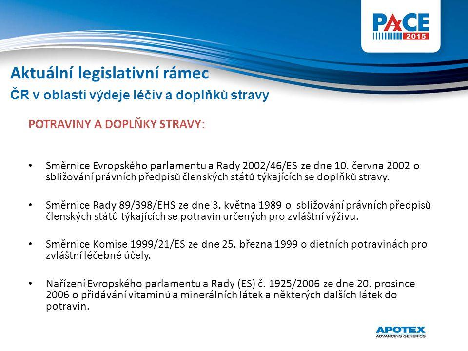 POTRAVINY A DOPLŇKY STRAVY: Směrnice Evropského parlamentu a Rady 2002/46/ES ze dne 10. června 2002 o sbližování právních předpisů členských států týk