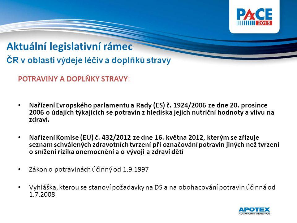 POTRAVINY A DOPLŇKY STRAVY: Nařízení Evropského parlamentu a Rady (ES) č. 1924/2006 ze dne 20. prosince 2006 o údajích týkajících se potravin z hledis