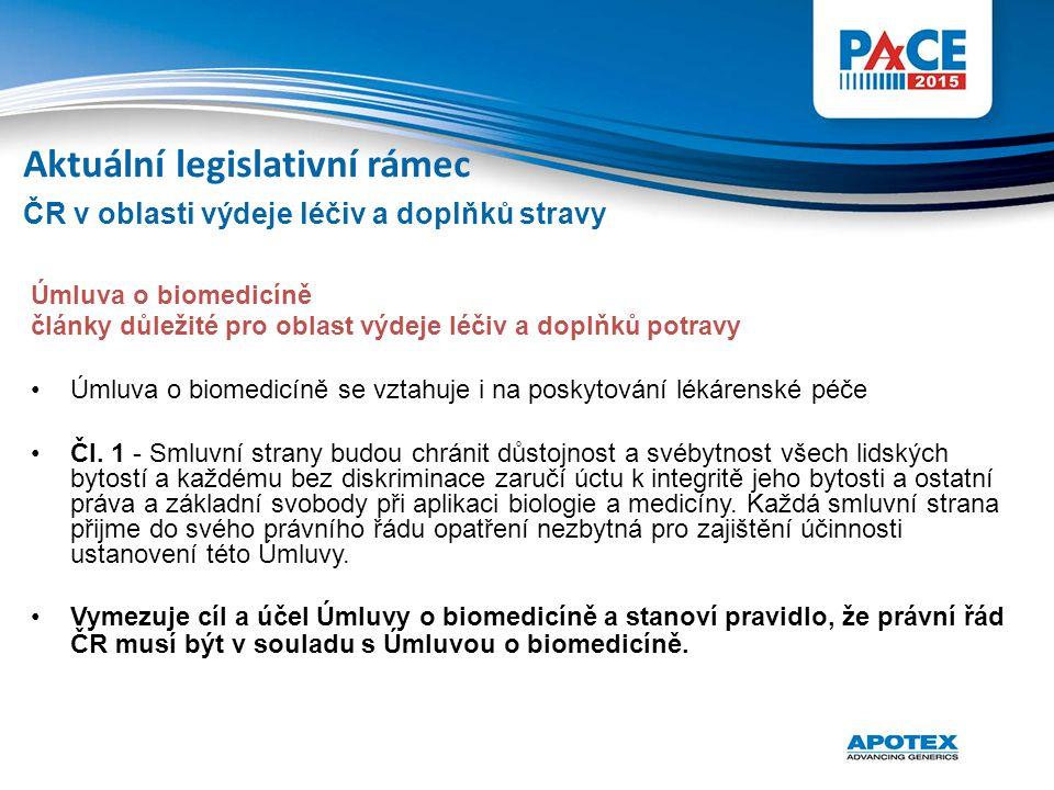 Aktuální legislativní rámec ČR v oblasti výdeje léčiv a doplňků stravy Úmluva o biomedicíně články důležité pro oblast výdeje léčiv a doplňků potravy