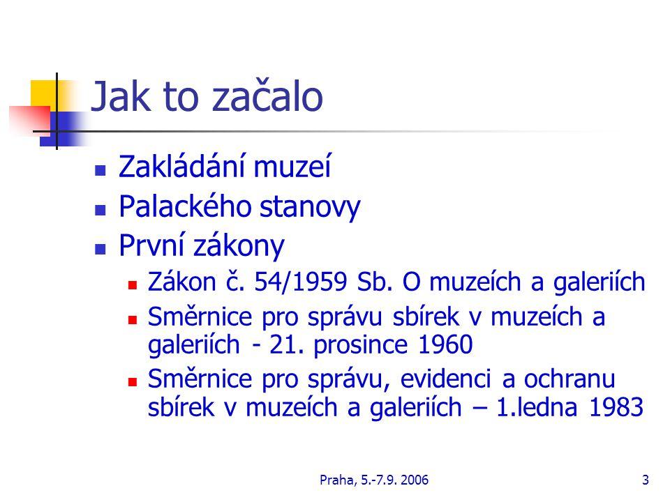 Praha, 5.-7.9.20063 Jak to začalo Zakládání muzeí Palackého stanovy První zákony Zákon č.