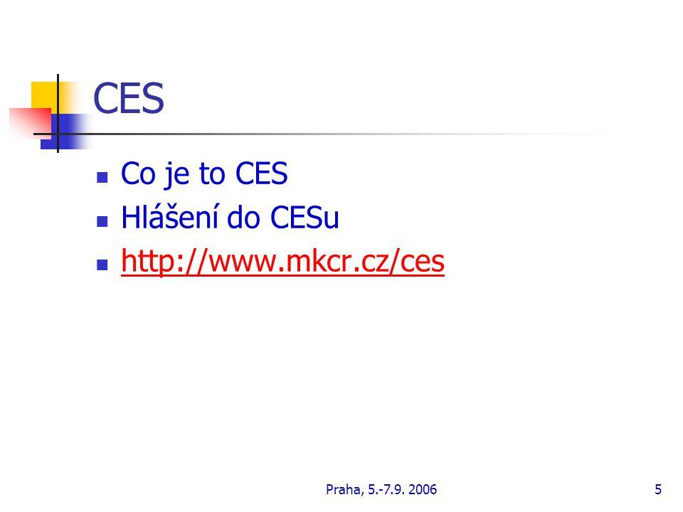 Praha, 5.-7.9. 20065 CES Co je to CES Hlášení do CESu http://www.mkcr.cz/ces