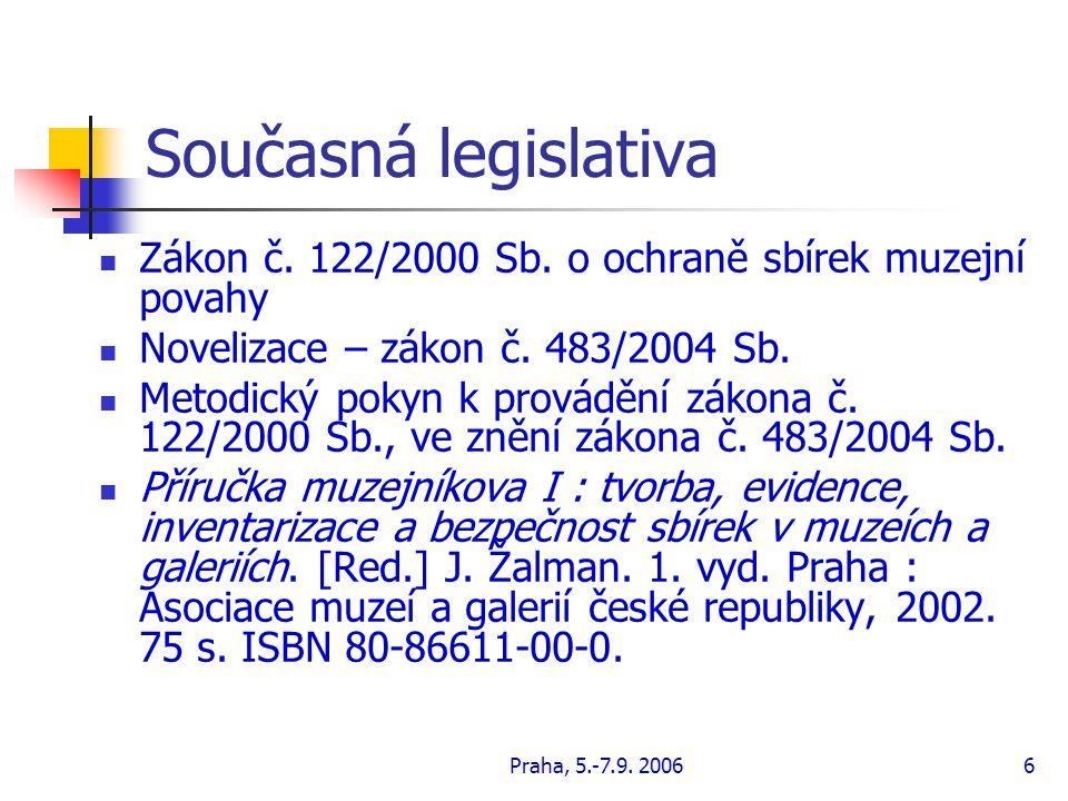 Praha, 5.-7.9. 20067 Na závěr Zákony Sbírky