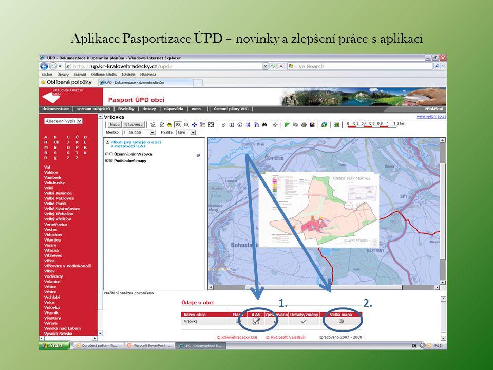Aplikace Pasportizace ÚPD – novinky a zlepšení práce s aplikací 1.2.