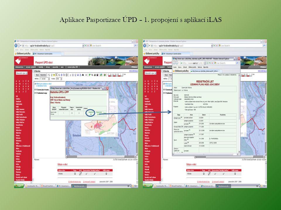 Aplikace Pasportizace ÚPD – 1. propojení s aplikací iLAS
