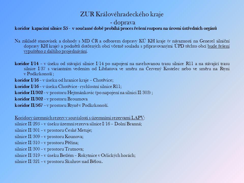 ZUR Královéhradeckého kraje - doprava koridor kapacitní silnice S5 - v sou č asné dob ě probíhá proces ř ešení rozporu na úrovni úst ř edních orgán ů