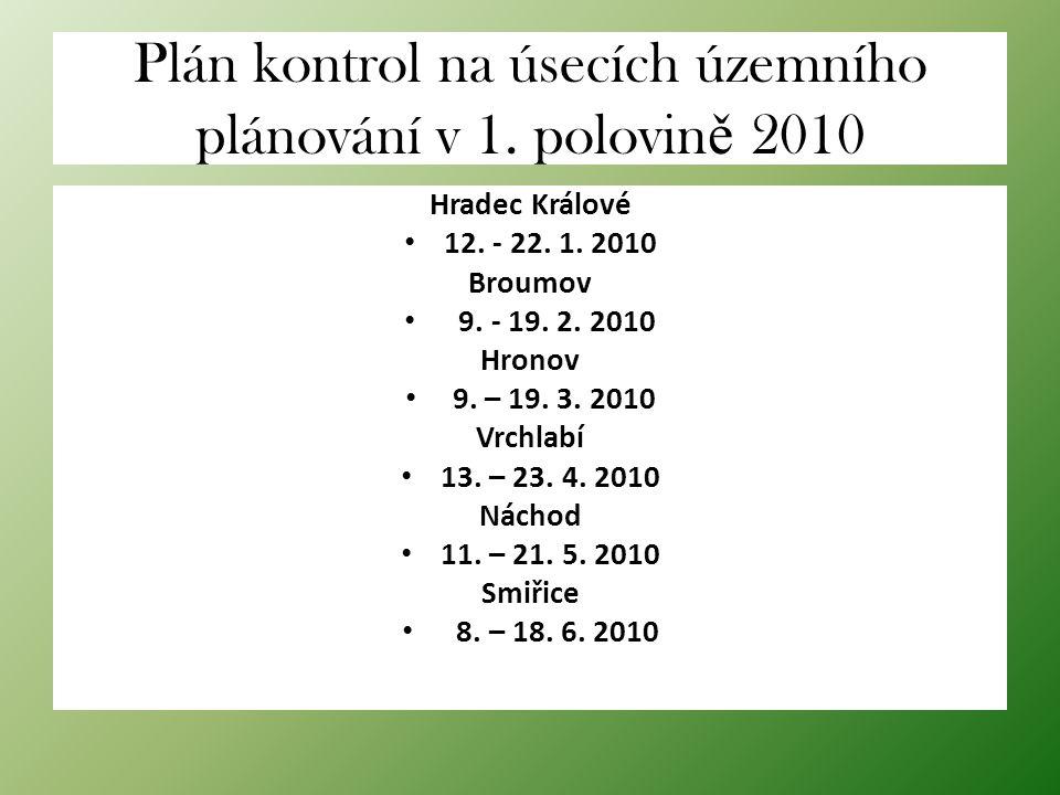 Plán kontrol na úsecích územního plánování v 1. polovin ě 2010 Hradec Králové 12. - 22. 1. 2010 Broumov 9. - 19. 2. 2010 Hronov 9. – 19. 3. 2010 Vrchl