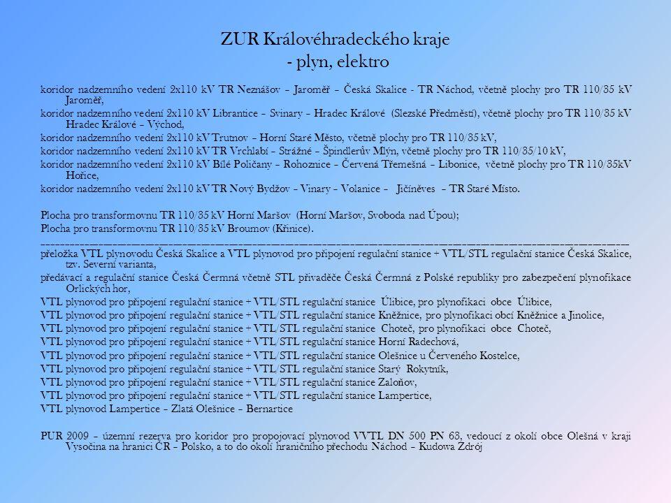 ZUR Královéhradeckého kraje - plyn, elektro koridor nadzemního vedení 2x110 kV TR Neznášov – Jarom ěř – Č eská Skalice - TR Náchod, v č etn ě plochy pro TR 110/35 kV Jarom ěř, koridor nadzemního vedení 2x110 kV Librantice – Svinary – Hradec Králové (Slezské P ř edm ě stí), v č etn ě plochy pro TR 110/35 kV Hradec Králové – Východ, koridor nadzemního vedení 2x110 kV Trutnov – Horní Staré M ě sto, v č etn ě plochy pro TR 110/35 kV, koridor nadzemního vedení 2x110 kV TR Vrchlabí – Strá ž né – Špindler ů v Mlýn, v č etn ě plochy pro TR 110/35/10 kV, koridor nadzemního vedení 2x110 kV Bílé Poli č any – Rohoznice – Č ervená T ř emešná – Libonice, v č etn ě plochy pro TR 110/35kV Ho ř ice, koridor nadzemního vedení 2x110 kV TR Nový Byd ž ov – Vinary – Volanice – Ji č ín ě ves – TR Staré Místo.