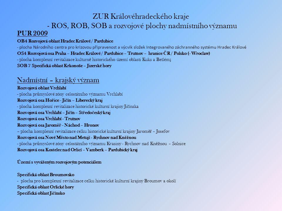 ZUR Královéhradeckého kraje - ROS, ROB, SOB a rozvojové plochy nadmístního významu PUR 2009 OB4 Rozvojová oblast Hradec Králové / Pardubice - plocha Národního centra pro krizovou připravenost a výcvik složek Integrovaného záchranného systému Hradec Králové OS4 Rozvojová osa Praha – Hradec Králové / Pardubice – Trutnov – hranice Č R / Polsko (- Wroclaw) - plocha komplexní revitalizace kulturn ě historického území oblasti Kuks a Betlém; SOB 7 Specifická oblast Krkonoše – Jizerské hory Nadmístní – krajský význam Rozvojová oblast Vrchlabí - plocha pr ů myslové zóny celostátního významu Vrchlabí Rozvojová osa Ho ř ice - Ji č ín – Liberecký kraj - plocha komplexní revitalizace historické kulturní krajiny Ji č ínska Rozvojová osa Vrchlabí – Ji č ín – St ř edo č eský kraj Rozvojová osa Vrchlabí - Trutnov Rozvojová osa Jarom ěř - Náchod – Hronov – plocha komplexní revitalizace celku historické kulturní krajiny Jarom ěř – Josefov Rozvojová osa Nové M ě sto nad Metují - Rychnov nad Kn ěž nou - plocha pr ů myslové zóny celostátního významu Kvasiny - Rychnov nad Kn ěž nou – Solnice Rozvojová osa Kostelec nad Orlicí – Vamberk – Pardubický kraj Území s vyvá ž eným rozvojovým potenciálem Specifická oblast Broumovsko - plocha pro komplexní revitalizace celku historické kulturní krajiny Broumov a okolí Specifická oblast Orlické hory Specifická oblast Ji č ínsko