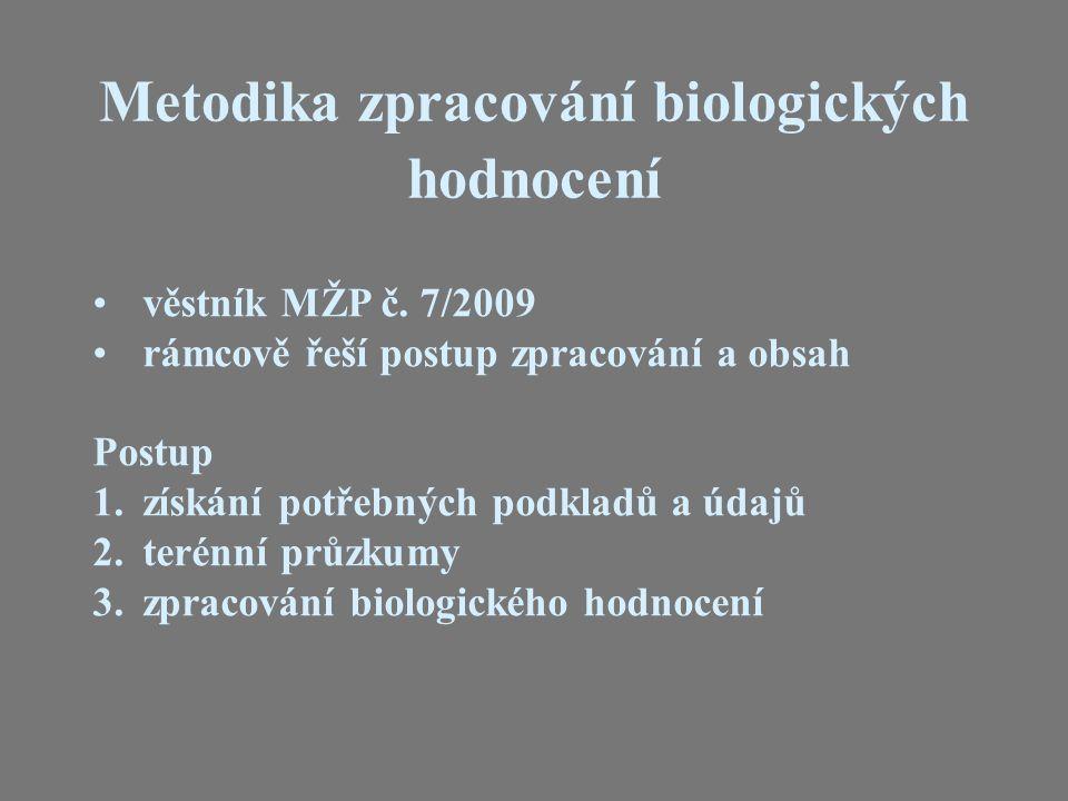 věstník MŽP č. 7/2009 rámcově řeší postup zpracování a obsah Postup 1. získání potřebných podkladů a údajů 2. terénní průzkumy 3. zpracování biologick