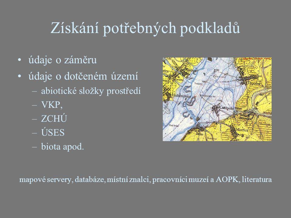 Získání potřebných podkladů údaje o záměru údaje o dotčeném území –abiotické složky prostředí –VKP, –ZCHÚ –ÚSES –biota apod. mapové servery, databáze,