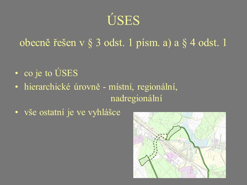 ÚSES obecně řešen v § 3 odst. 1 písm. a) a § 4 odst. 1 co je to ÚSES hierarchické úrovně - místní, regionální, nadregionální vše ostatní je ve vyhlášc