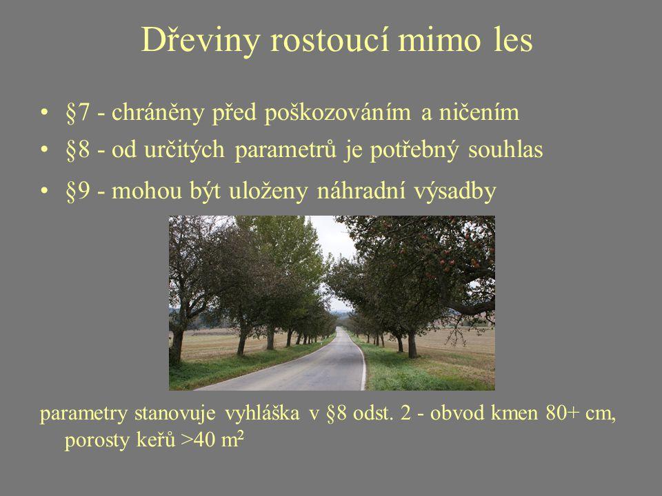 Dřeviny rostoucí mimo les §7 - chráněny před poškozováním a ničením §8 - od určitých parametrů je potřebný souhlas §9 - mohou být uloženy náhradní výs