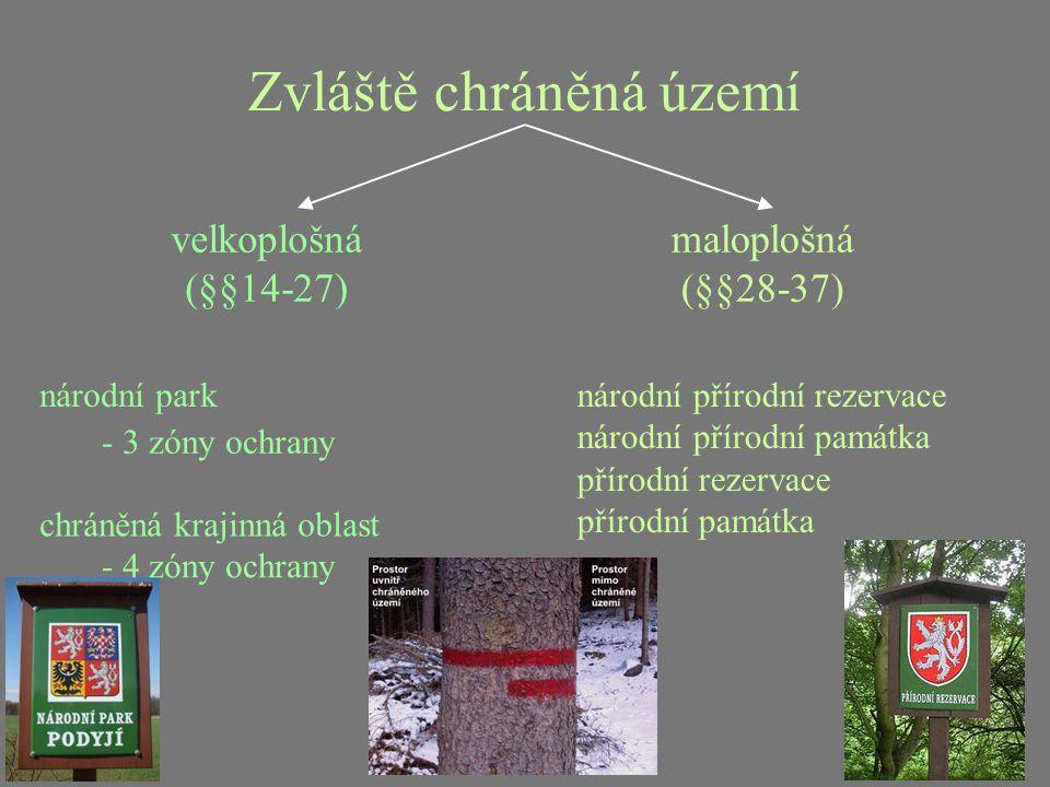 Zvláště chráněná území velkoplošná (§§14-27) maloplošná (§§28-37) národní park chráněná krajinná oblast - 4 zóny ochrany - 3 zóny ochrany národní přír