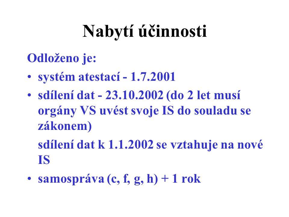 Nabytí účinnosti Odloženo je: systém atestací - 1.7.2001 sdílení dat - 23.10.2002 (do 2 let musí orgány VS uvést svoje IS do souladu se zákonem) sdílení dat k 1.1.2002 se vztahuje na nové IS samospráva (c, f, g, h) + 1 rok