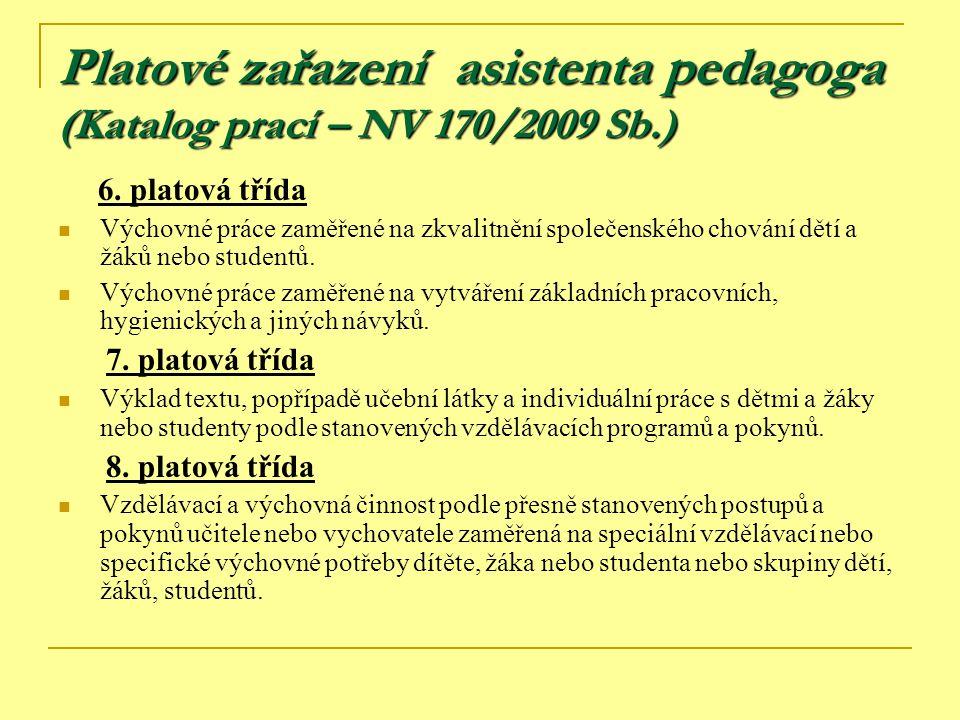 Platové zařazení asistenta pedagoga (Katalog prací – NV 170/2009 Sb.) 6. platová třída Výchovné práce zaměřené na zkvalitnění společenského chování dě