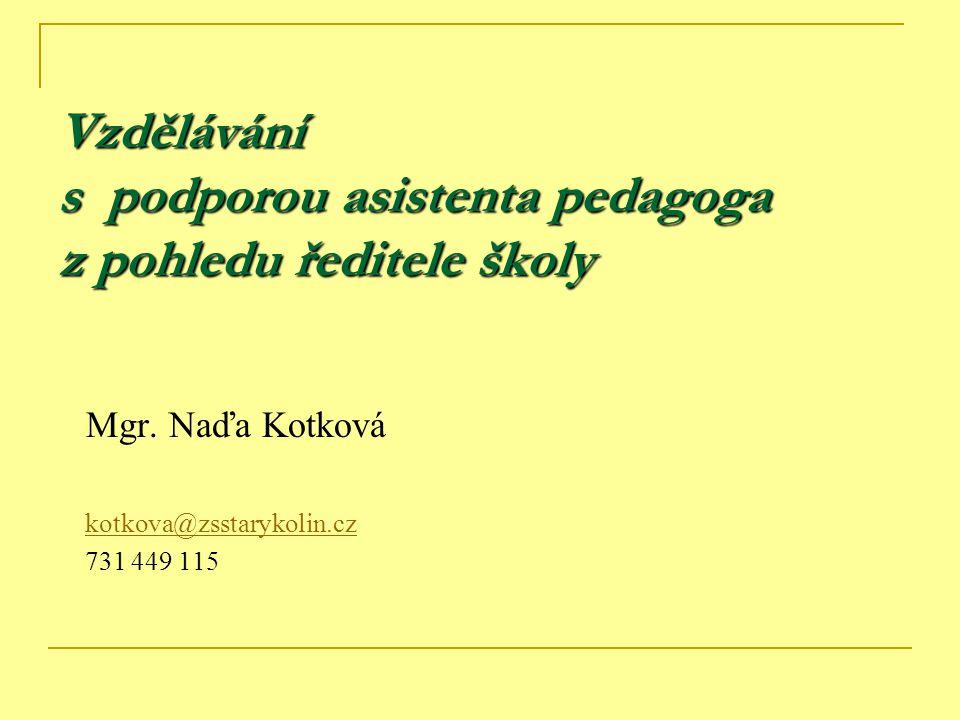 Vzdělávání s podporou asistenta pedagoga z pohledu ředitele školy Mgr. Naďa Kotková kotkova@zsstarykolin.cz 731 449 115