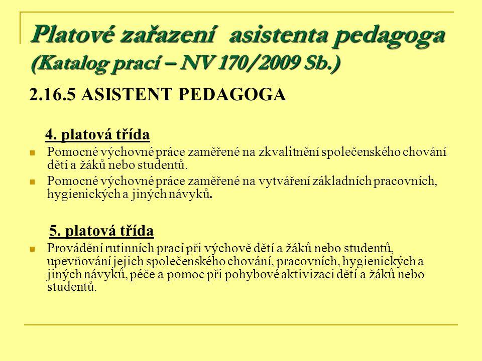 Platové zařazení asistenta pedagoga (Katalog prací – NV 170/2009 Sb.) 2.16.5 ASISTENT PEDAGOGA 4. platová třída Pomocné výchovné práce zaměřené na zkv