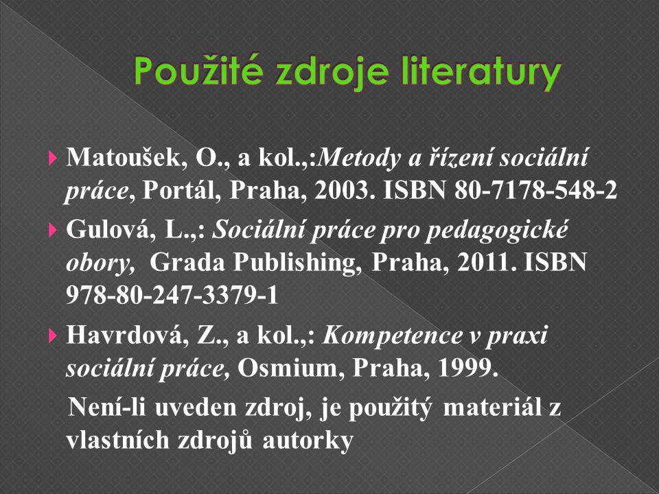  Matoušek, O., a kol.,:Metody a řízení sociální práce, Portál, Praha, 2003.