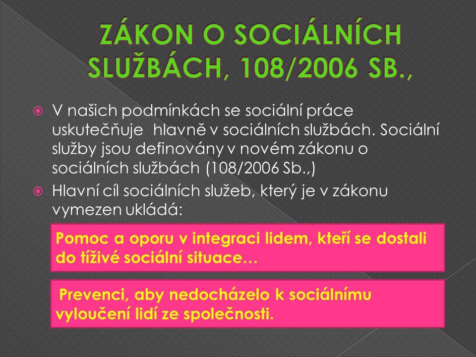  V našich podmínkách se sociální práce uskutečňuje hlavně v sociálních službách.