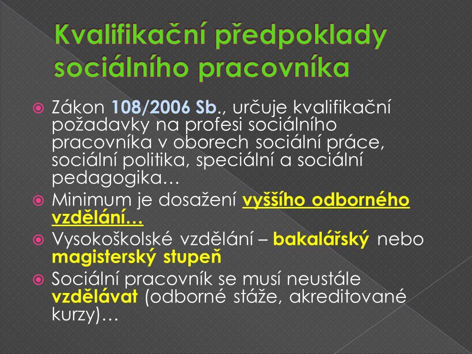  Zákon 108/2006 Sb., určuje kvalifikační požadavky na profesi sociálního pracovníka v oborech sociální práce, sociální politika, speciální a sociální pedagogika…  Minimum je dosažení vyššího odborného vzdělání…  Vysokoškolské vzdělání – bakalářský nebo magisterský stupeň  Sociální pracovník se musí neustále vzdělávat (odborné stáže, akreditované kurzy)…