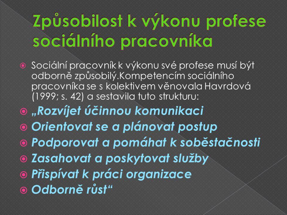  Sociální pracovník k výkonu své profese musí být odborně způsobilý.Kompetencím sociálního pracovníka se s kolektivem věnovala Havrdová (1999; s.