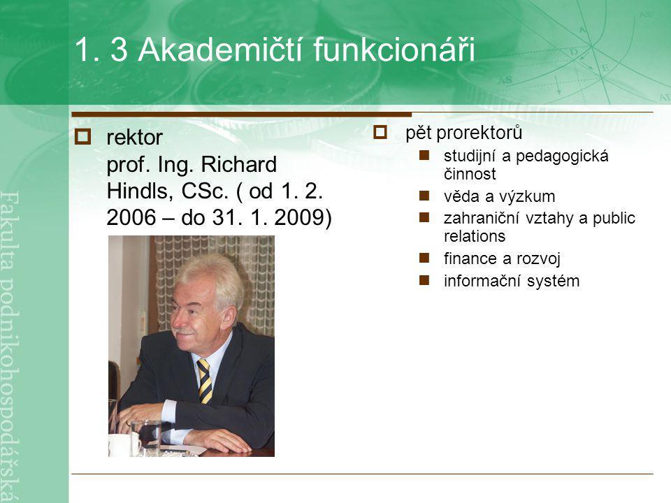 1. 3 Akademičtí funkcionáři  rektor prof. Ing. Richard Hindls, CSc. ( od 1. 2. 2006 – do 31. 1. 2009)  pět prorektorů studijní a pedagogická činnost