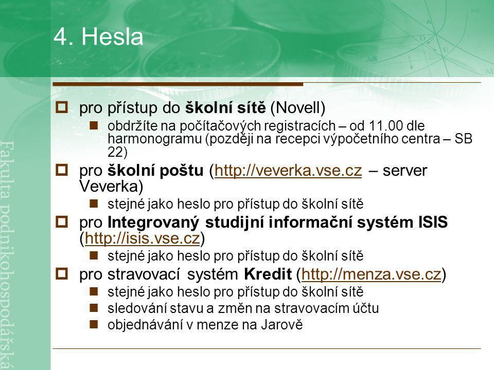 4. Hesla  pro přístup do školní sítě (Novell) obdržíte na počítačových registracích – od 11.00 dle harmonogramu (později na recepci výpočetního centr