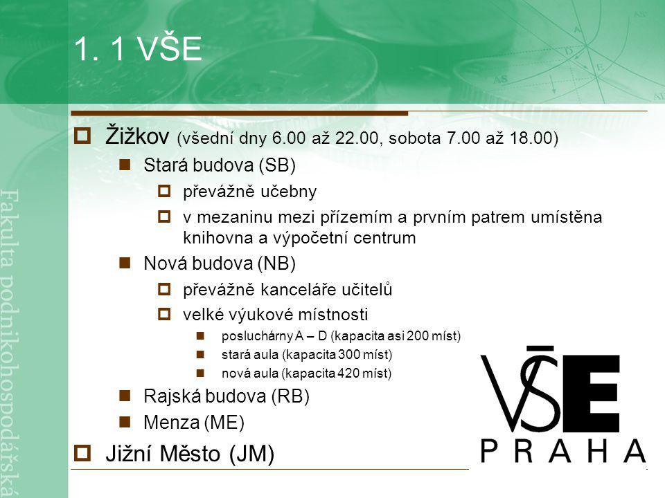 1. 1 VŠE  Žižkov (všední dny 6.00 až 22.00, sobota 7.00 až 18.00) Stará budova (SB)  převážně učebny  v mezaninu mezi přízemím a prvním patrem umís