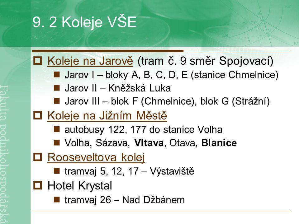 9. 2 Koleje VŠE  Koleje na Jarově (tram č. 9 směr Spojovací) Koleje na Jarově Jarov I – bloky A, B, C, D, E (stanice Chmelnice) Jarov II – Kněžská Lu