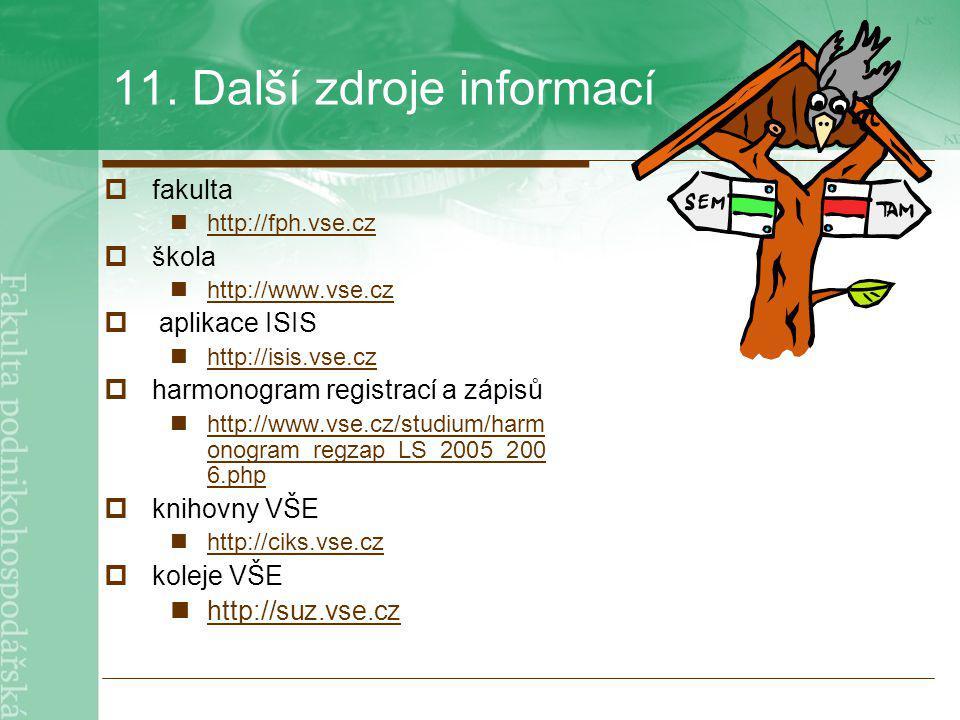 11. Další zdroje informací  fakulta http://fph.vse.cz  škola http://www.vse.cz  aplikace ISIS http://isis.vse.cz  harmonogram registrací a zápisů