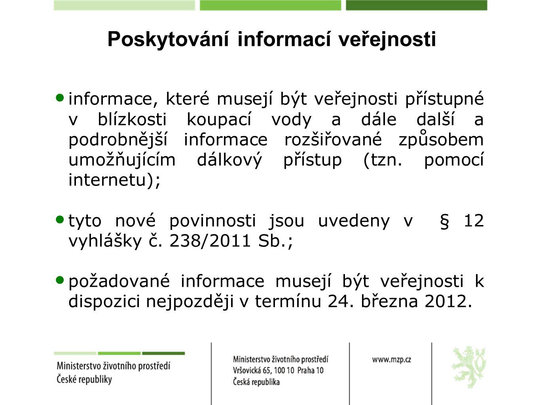 Poskytování informací veřejnosti informace, které musejí být veřejnosti přístupné v blízkosti koupací vody a dále další a podrobnější informace rozšiř