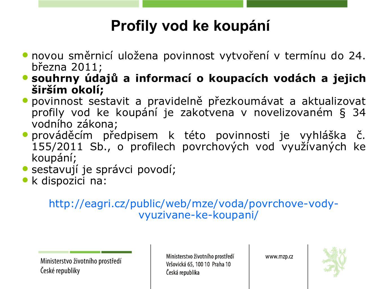 Profily vod ke koupání novou směrnicí uložena povinnost vytvoření v termínu do 24. března 2011; souhrny údajů a informací o koupacích vodách a jejich
