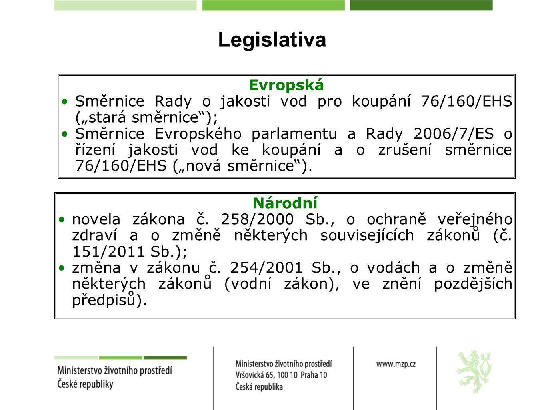 """Legislativa Evropská Směrnice Rady o jakosti vod pro koupání 76/160/EHS (""""stará směrnice""""); Směrnice Evropského parlamentu a Rady 2006/7/ES o řízení j"""