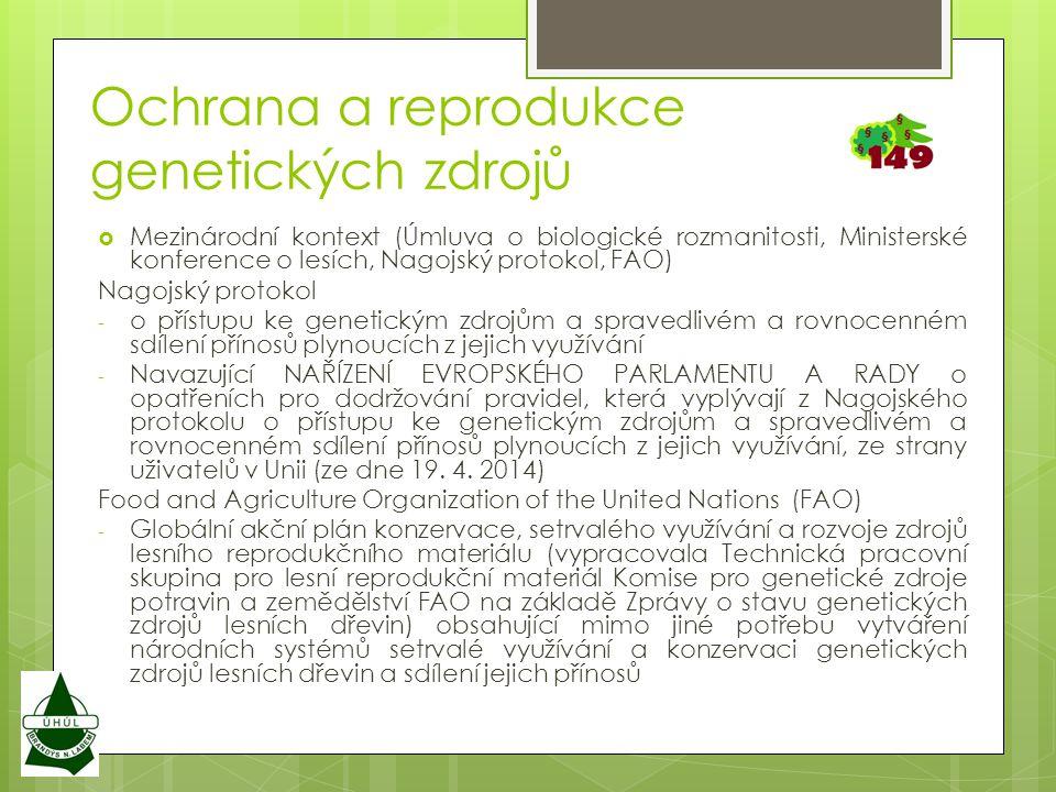  Mezinárodní kontext (Úmluva o biologické rozmanitosti, Ministerské konference o lesích, Nagojský protokol, FAO) Nagojský protokol - o přístupu ke genetickým zdrojům a spravedlivém a rovnocenném sdílení přínosů plynoucích z jejich využívání - Navazující NAŘÍZENÍ EVROPSKÉHO PARLAMENTU A RADY o opatřeních pro dodržování pravidel, která vyplývají z Nagojského protokolu o přístupu ke genetickým zdrojům a spravedlivém a rovnocenném sdílení přínosů plynoucích z jejich využívání, ze strany uživatelů v Unii (ze dne 19.