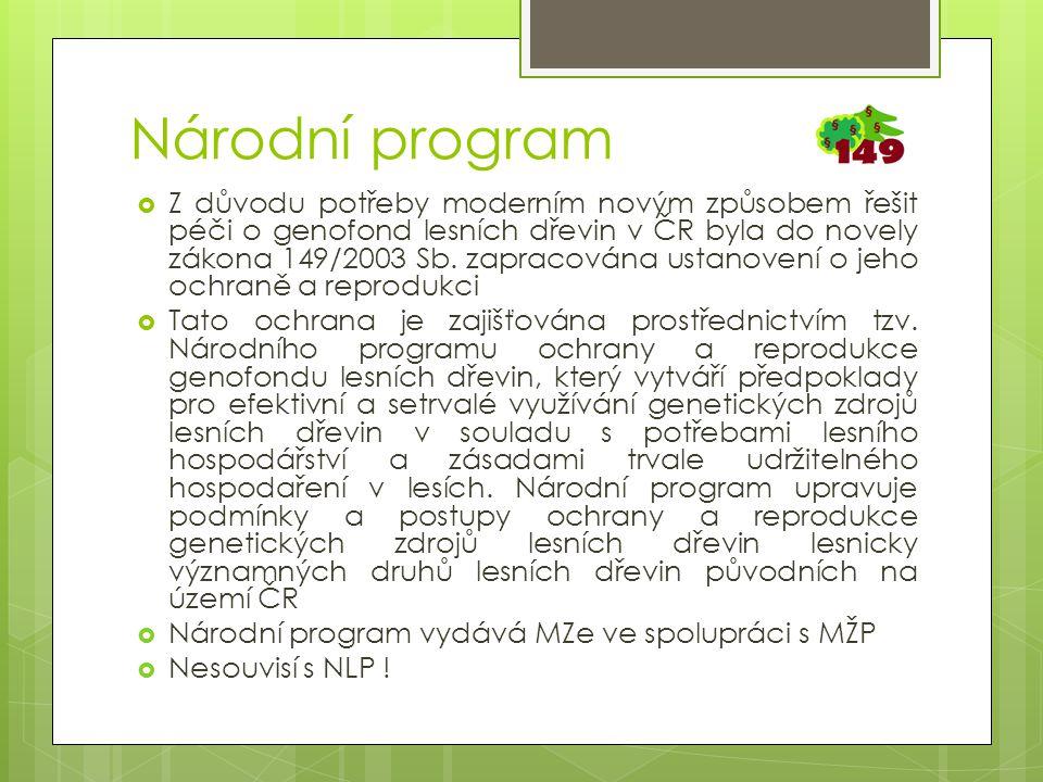 Národní program  Z důvodu potřeby moderním novým způsobem řešit péči o genofond lesních dřevin v ČR byla do novely zákona 149/2003 Sb.
