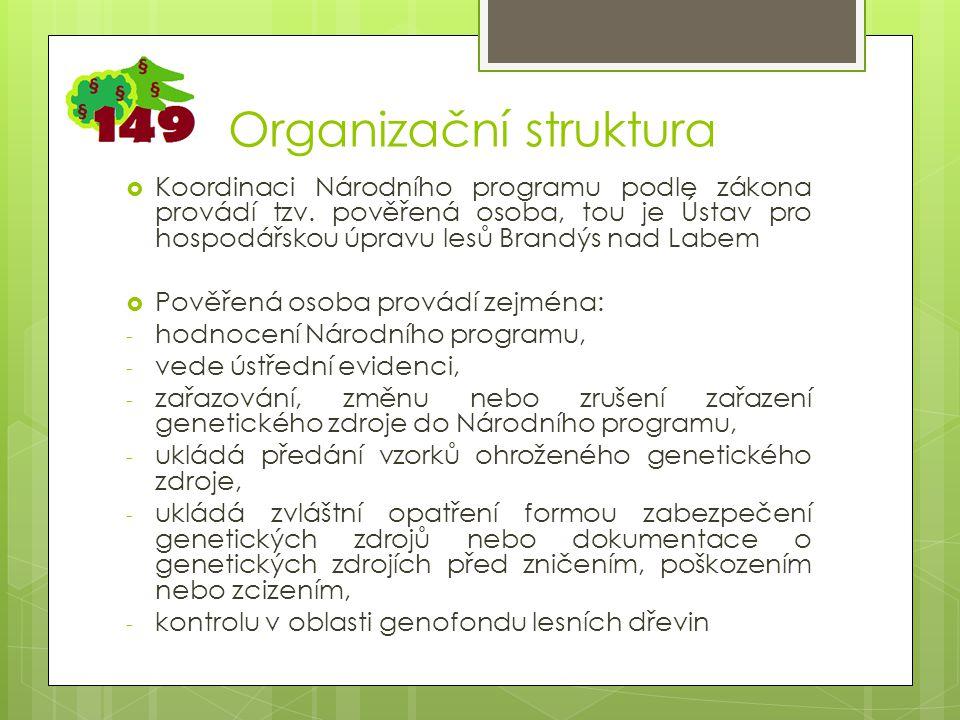 Organizační struktura  Koordinaci Národního programu podle zákona provádí tzv.