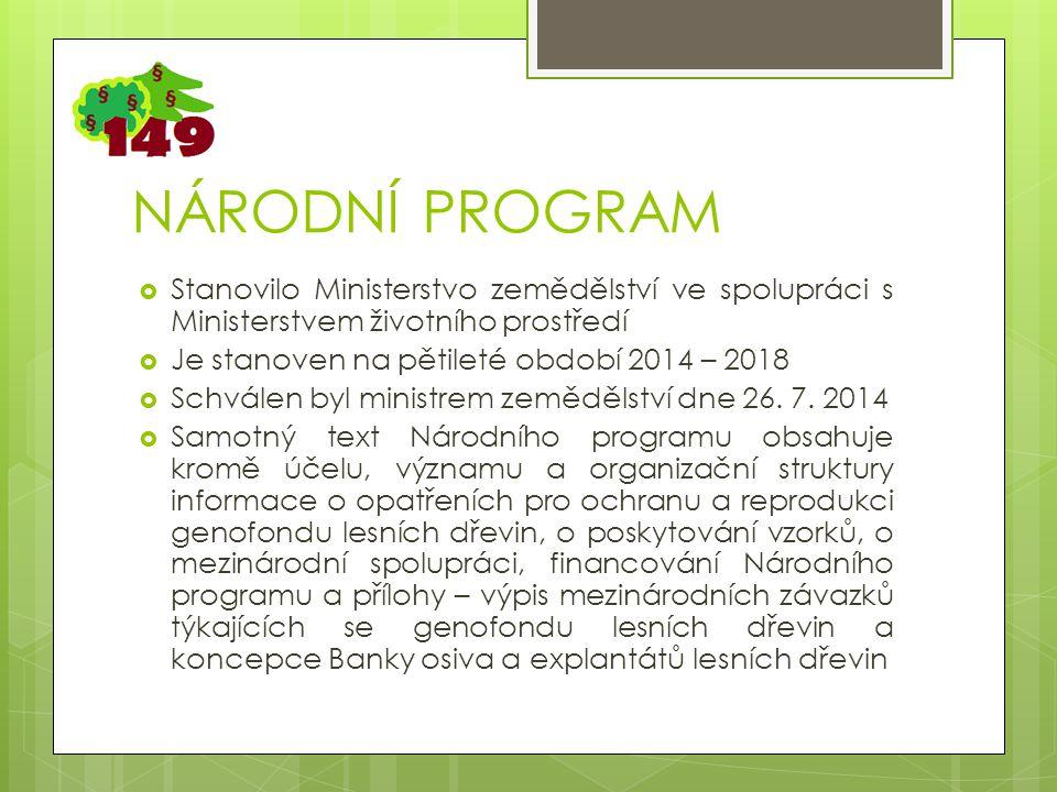 NÁRODNÍ PROGRAM  Stanovilo Ministerstvo zemědělství ve spolupráci s Ministerstvem životního prostředí  Je stanoven na pětileté období 2014 – 2018  Schválen byl ministrem zemědělství dne 26.