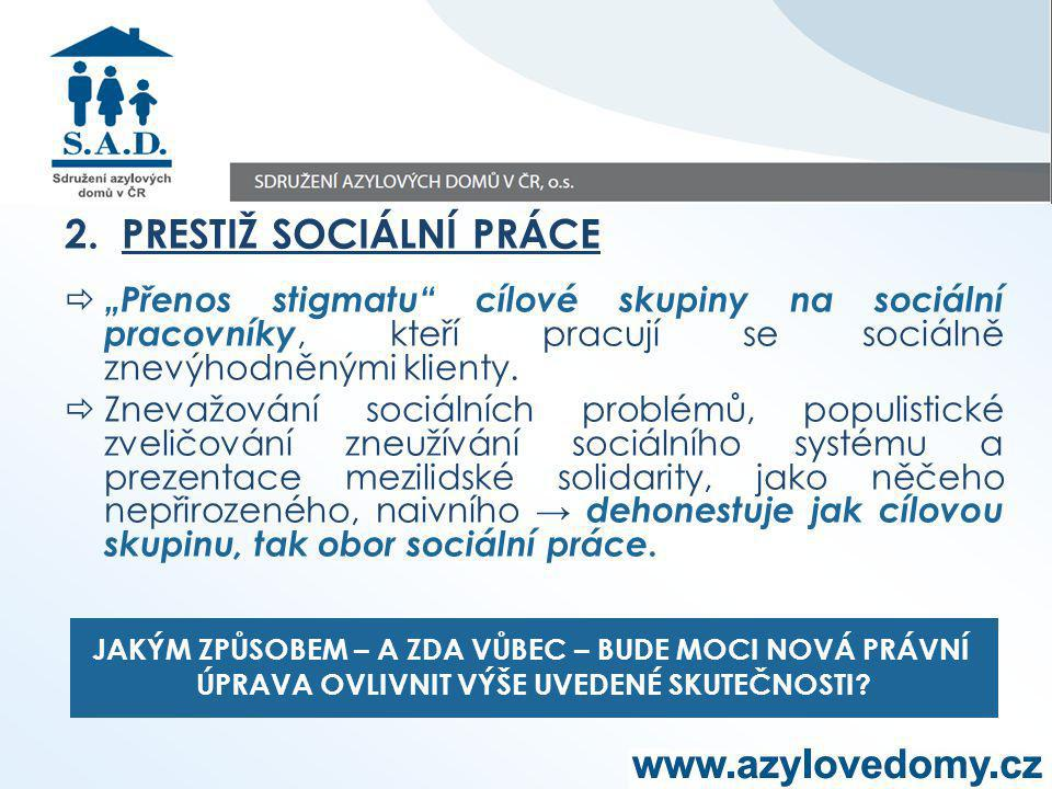 """2. PRESTIŽ SOCIÁLNÍ PRÁCE  """"Přenos stigmatu"""" cílové skupiny na sociální pracovníky, kteří pracují se sociálně znevýhodněnými klienty.  Znevažování s"""