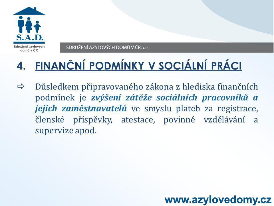 4.FINANČNÍ PODMÍNKY V SOCIÁLNÍ PRÁCI  Důsledkem připravovaného zákona z hlediska finančních podmínek je zvýšení zátěže sociálních pracovníků a jejich